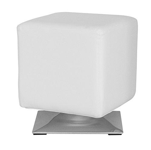 SixBros. Sitzwürfel Sitzhocker Hocker Gepolstert Weiß - M-61352/2145