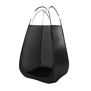 LotCow Tente de bronzage noire avec spray - Tente de douche portable - Tente d'intimité pour se changer - Garde au chaud et imperméable