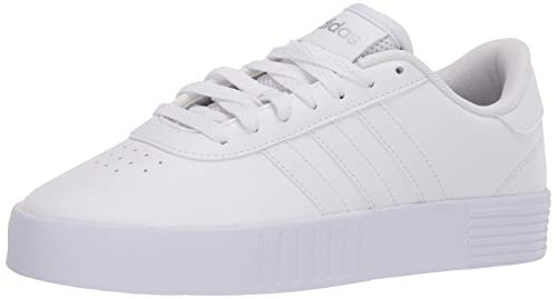 adidas womens Court Bold Skate Shoe, White/White/Silver, 8.5