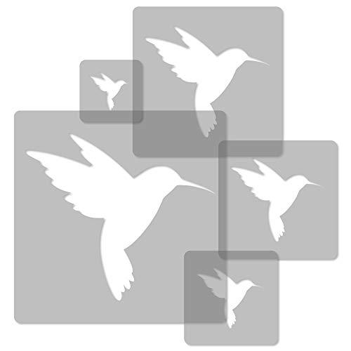 5 Stück wiederverwendbare Kunststoff-Schablonen // KOLIBRI // 34 x 34 cm bis 9 x 9 cm // Kinderzimmer-Deko // Kinderzimmer-Vorlage