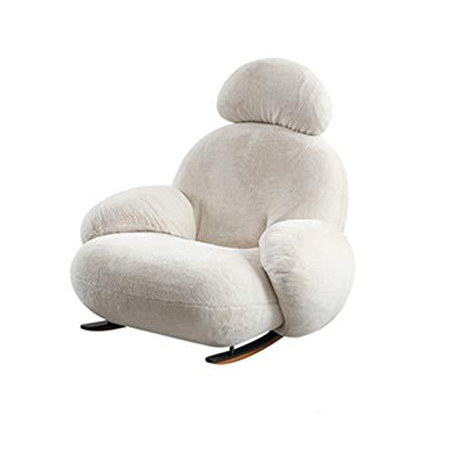Mecedora mecedora silla de salón para adultos, para el hogar, balcón, salón, sofá, sofá, sofá, silla, silla mecedora (color: blanco, tamaño: 98 x 89 x 97 cm)