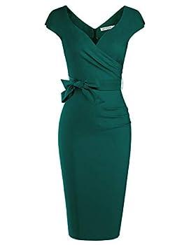 MUXXN Flattering Wrap V-Neck Ruched Waist Cute Juniors Midi Dress  Dark Green M