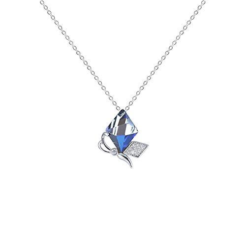 LYZL Collar de Plata esterlina S925 Colgante de Cristal Swarovski Elements Cadena de clavícula...