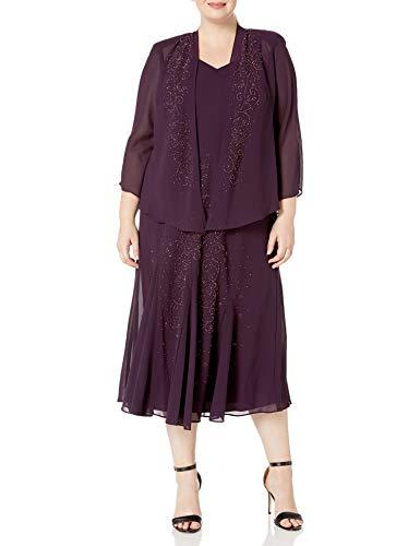 R&M Richards Women's Plus Size 2 Piece Chiffon Beaded JKT Dress, Eggplant, 18W