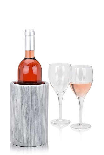 Modern Innovations Wine Chiller Elegant Grey Marble Wine Bottle Cooler Keeps Wine and Champagne Cold with Multipurpose Use as Kitchen Utensil Holder and Flower Vase - Holds 750ml Sized Bottles (Grey)