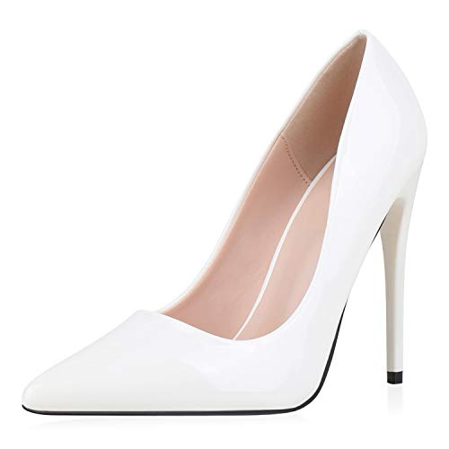 SCARPE VITA Damen Pumps High Heels Elegante Lack Schuhe Stiletto Absatzschuhe Spitze Partyschuhe 186259 Weiss 39