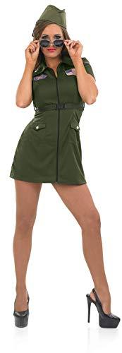 Fun Shack Disfraz de Aviador de los años 80 para Mujer. Vestido de piloto Militar Estadounidense para Adultos, Talla XL