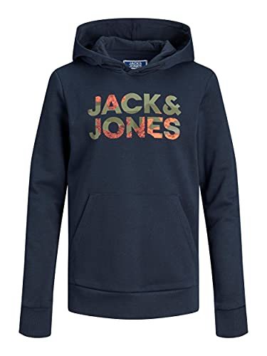 JACK&JONES JUNIOR JJSOLDIER Logo Sweat Hood JR Sudadera con Capucha, Azul Marino, 14 años para Niños
