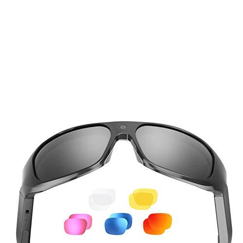 OHO 4K Ultra HD - Gafas de sol de vídeo resistentes al agua, cámara de acción deportiva con memoria integrada de 256 GB y lentes polarizadas de seguridad UV400, diseño deportivo unisex
