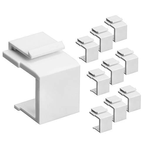 Cmple  Blank Keystone Jack Inserts for Keystone Wallplate, Blank Insert for Wall Plate - 10 Pack, White