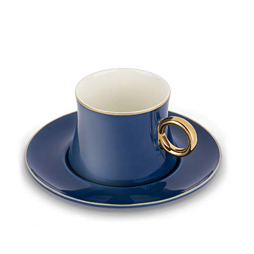 YIXIN2013SHOP Tazza Coffee Cup Set Afternoon Tea Ceramic Cup Regalo e piattino Set 7.4 Oz.Adatto for caffè, tè, Farina d'avena, Latte Tazza da caffè (Color : Blue)