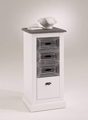 moebel-dich-auf.de Konsole Cabana 55001 im Landhausstil und Vintage Look, teilmassiv weiß B/H/T: 41 x 90,5 x 40,5 cm