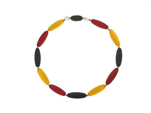 Creative-Beads Polarisperlen Halskette, Schlandkette Deutschlandkette schwarz rot Gold, 50cm. Die Perlen mit dem geheimnisvoll schimmernden Polaris Effekt