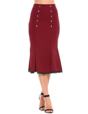 Zeagoo Women's Slim Fit High Waist Party Work Mermaid Bodycon Pencil Midi Skirt