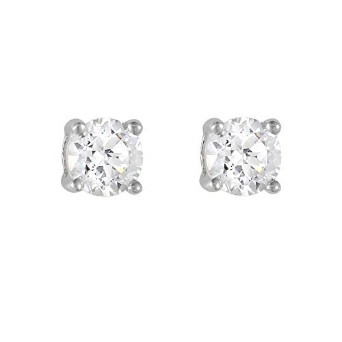 Ivy Gems 9ct White Gold Small Four Claw Cubic Zirconia Stud Earrings