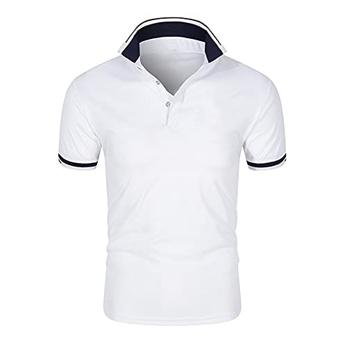 N\P Summer Plus Size Polo Uomo Casual Maniche Corte, bianco, XXL