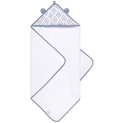 Premium Baby Handtuch mit Kapuze, Extra Weich & Groß, Doppelt Saugfähig, OEKO-TEX - Frei von Schadstoffen,100% Frottee Baumwolle, langlebig - behält Form & Farbe, 80x80cm von emma & noah (Rauten Blau)
