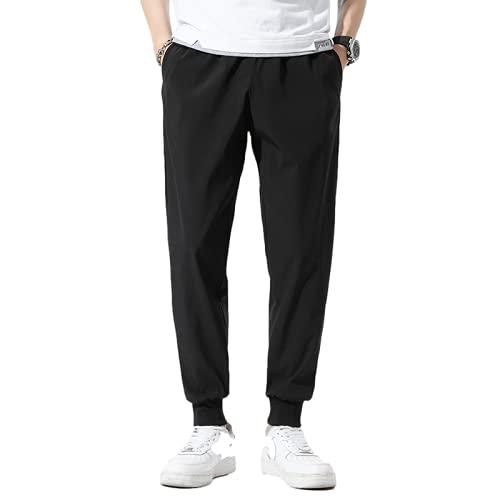 Pantalones Casuales para Hombre Pantalones Casuales Rectos Delgados Salvajes de Color sólido Simple de Verano Pantalones cómodos Casuales Diarios 4XL