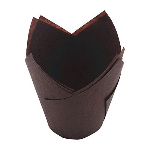 Topxingch 50 piezas a prueba de aceite Tulip Cake Cup Muffin Cupcake Liner soporte de papel para hornear herramienta Dark Coffee