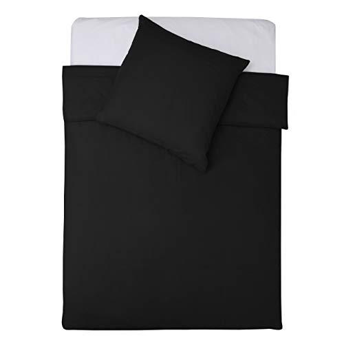 Lumaland Premium Bettwäsche Everyday Ganzjahres Bettbezug mit YKK Reißverschluss 135x200cm & Kissenbezug 80x80cm Schwarz
