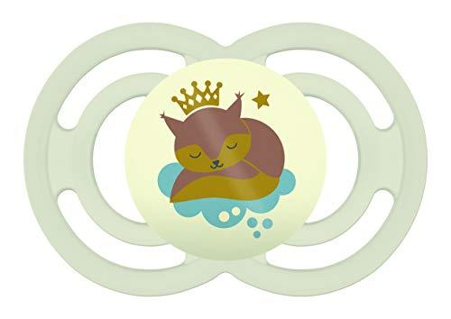 MAM Perfect Night Dream Traveler ZEDMM071N Ciuccio Luminoso in Silicone con Custodia Porta Ciuccio, 6+ mesi, Beige