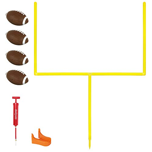 GoSports PRO Kick Challenge Field Goal Post Set with 4 Footballs and Kicking Tee - Life Sized Backyard Field Goal for Kids & Adults, Yellow