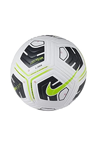 Nike Unisex-Adult NK Academy - Team Recreational Soccer Ball, White/Black/(Volt), 5