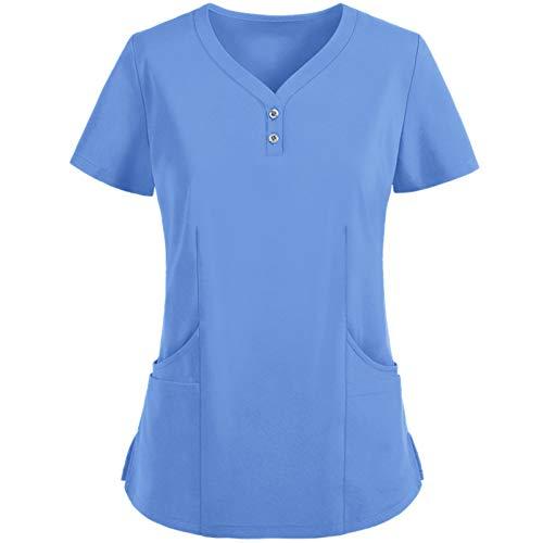 Señoras De Manga Corta con Cuello En V Ropa Protectora De Color SóLido, Ropa De Enfermería, Blusas De Uniforme De Trabajo, Camisetas(A,XL)