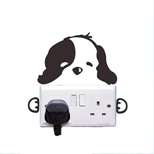 Pegatinas de pared con diseño de perro lindo interruptor de luz, vinilo adhesivo decorativo para el hogar, dormitorio, sala de estar, cuarto de baño, duradero y útil
