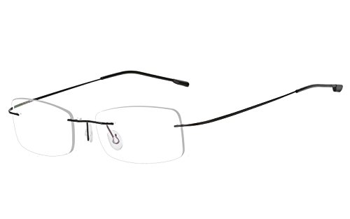 Agstum Mens Womens Titanium Alloy Flexible Rimless Frame Optical Eyeglasses 51mm