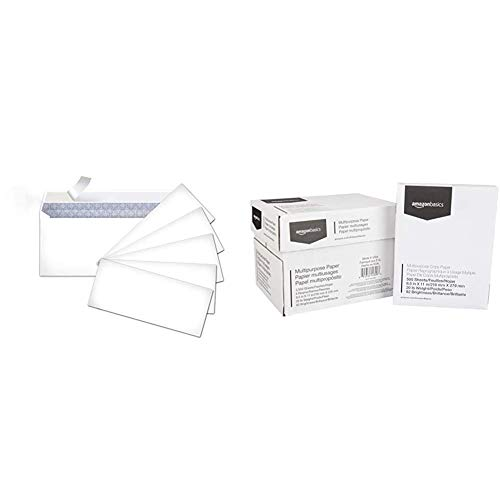 AmazonBasics #10 Security-Tinted Envelopes with Peel & Seal, White, 500-Pack - AMZP5 & Multipurpose Copy Printer Paper - White, 8.5 x 11 Inches, 5 Ream Case (2,500 Sheets)