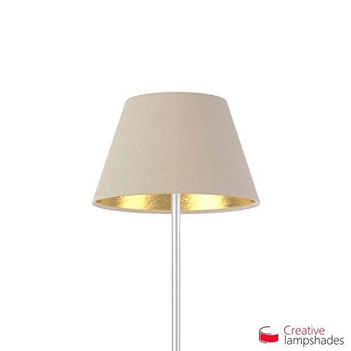 Creative Lampshades Empire Lampenschirm Haselnuss Leinwand (Innen Gold) - Durchmesser 55-33cm - H. 31cm, E27 Für Standleuchten, Nein