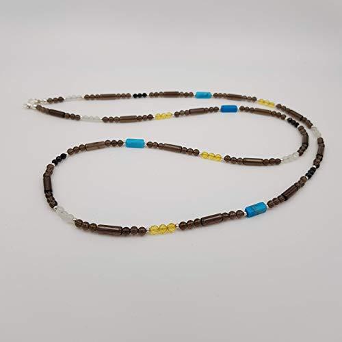 charakterperle Design Edelsteinkette inspiriert von Katja Hintzenstern - braun Rauchquarz gelb Bernstein weiss Mondstein - 96 cm Kettenlänge - Einzelstück Unikat...