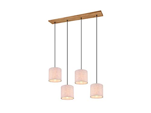 Skandinavische LED Stofflampe Balkenpendelleuchte mit Holzbalken und vier weißen Lampenschirmen 18 cm rund