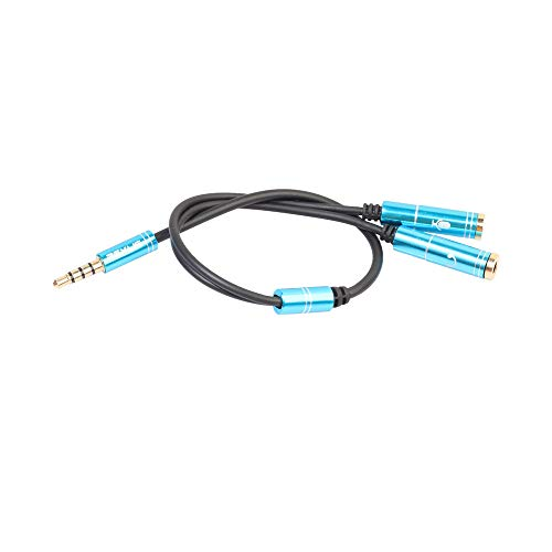 TIREOW 3,5mm Stereo Splitter Audio Stecker auf Kopfhörer Headset Mikrofonkabel Verlängerungs Adapter für Computer PC Mikrofon (Blau)