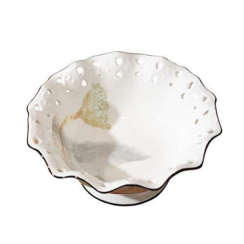 TongN Lotus Keramik Getrocknete Obstteller Wohnzimmer Couchtisch Dreiteilige Süßigkeit Teller Hauptdekoration (Size : Large)