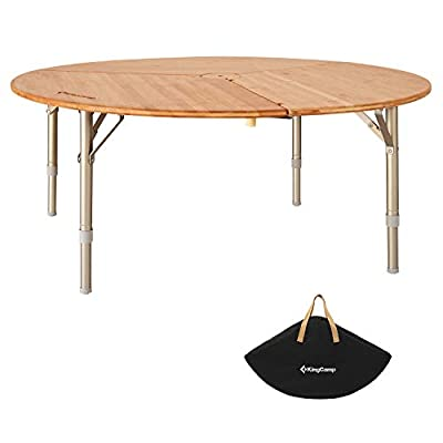 KingCamp Bamboo Round Folding Table Portable with Carry Bag 3 Fold Heavy Duty Adjustable Height Aluminum Frame for Outdoor Camping Picnic Or Indoor Furniture Dinning