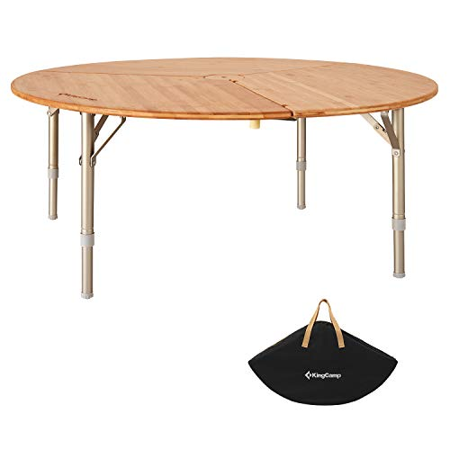 KingCamp Bamboo Round Folding Table for Teepee Bell Tent, Portable with Carry Bag 3 Fold Heavy Duty...