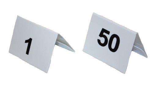 Tischnummernschilder Satz 1-50 Kunststoff