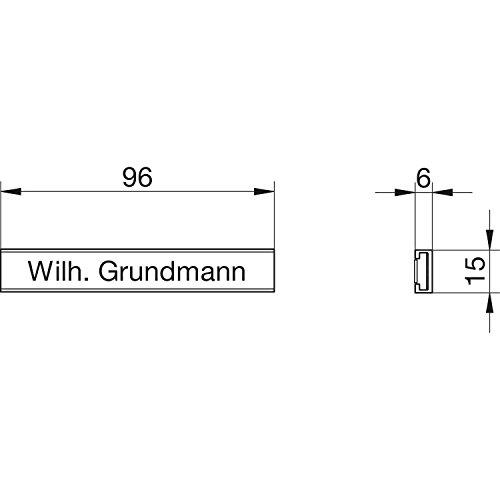 GRUNDMANN Ersatznamensleiste mit Papiereinlage, transparent, selbstklebend ; 1 Stück