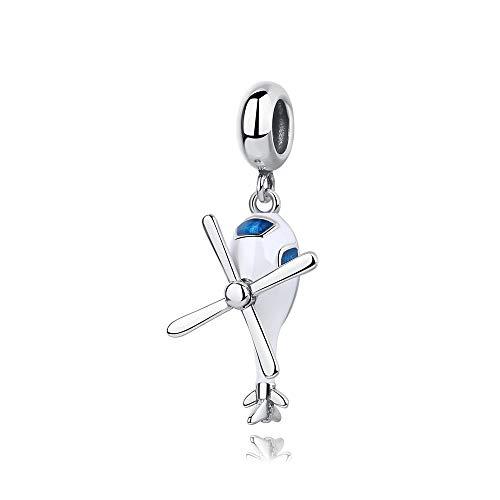 Encantos de plata esterlina 925 para pulseras collares helicóptero encanto grano colgante mujer joyería regalo