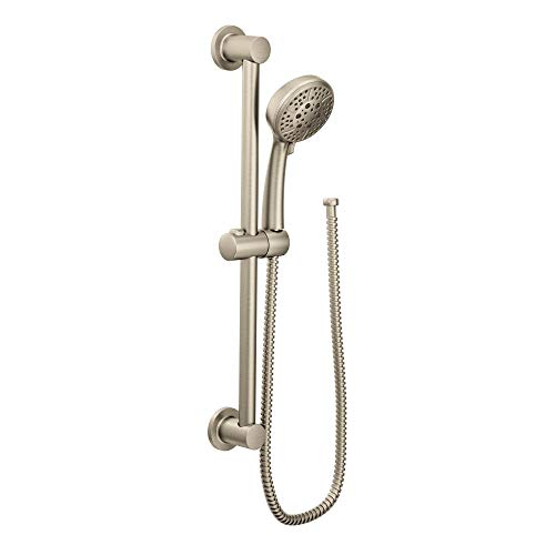 Moen 3669EPBN Eco-Performance Handheld Showerhead with 69-Inch-Long Hose Featuring 30-Inch Slide Bar, Brushed Nickel