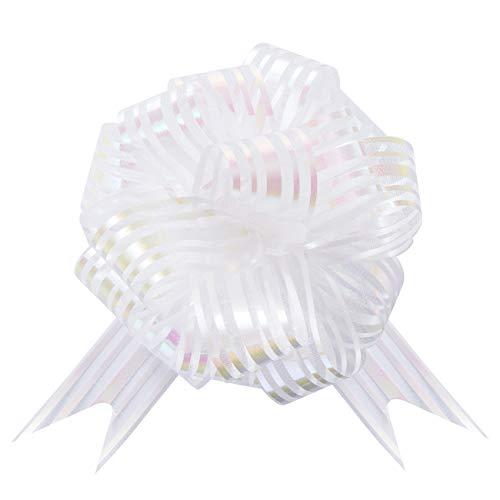 GWHOLE 30 Piezas Lazo Blanco Moños y Cintas para Regalo de Embalaje, Regalo Navidad Decoración Lazo Boda para Coche de Boda