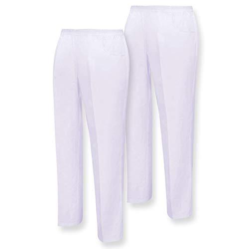 MISEMIYA - Pack*2 - Pantaloni Unisex Vita Elastica Uniforme di Lavoro Clinica Ospedale Pulizia Veterinario IGIENE OSPITALITÀ - Ref.8312 - Small, Bianco