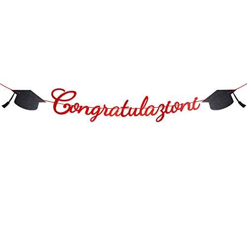 Laurea Striscione Congratulazioni Carta Ghirlanda Bandiera Addobbi Banner Festoni Decorazioni Festa di Laurea Bomboniere Party Casa (rosso)