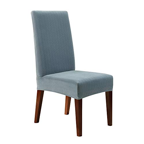 Surefit Home Décor Stretch Pinstripe Short Dining Room Chair One Piece Slipcover, Form Fit, Polyester/Spandex, Machine Washable, 18x19x42 Inches, French Blue Color
