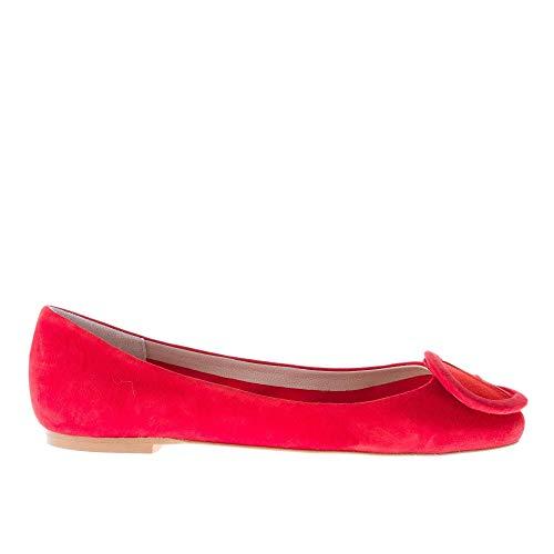IL BORGO FIRENZE Ballerina in camoscio Rosso con Fibbia Patchwork. Suola in Cuoio Color Rosso Size 37.5