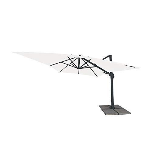 paramondo parapenda Plus Ampelschirm Ampelsonnenschirm, 360° Schwenkbar, Axiale Neigung, Kurbelbedienung, Stahl-Standkreuz und Gestell in Anthrazit, Rechteckig, Weiß, 3 x 4 m