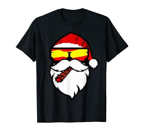 Papá Noel con gafas de sol y puro navideño Camiseta