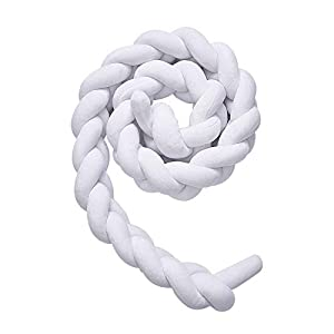 Wonder Space Soft Knot Plush Pillow – Braided Baby Crib Bumper, Fashion Nursery Cradle Decor for Baby Toddler and Childern (Pure White, 78.7IN / 2M)
